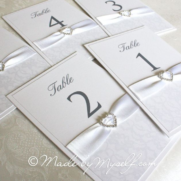 Ribbon Heart Lace Table Number - Option 2